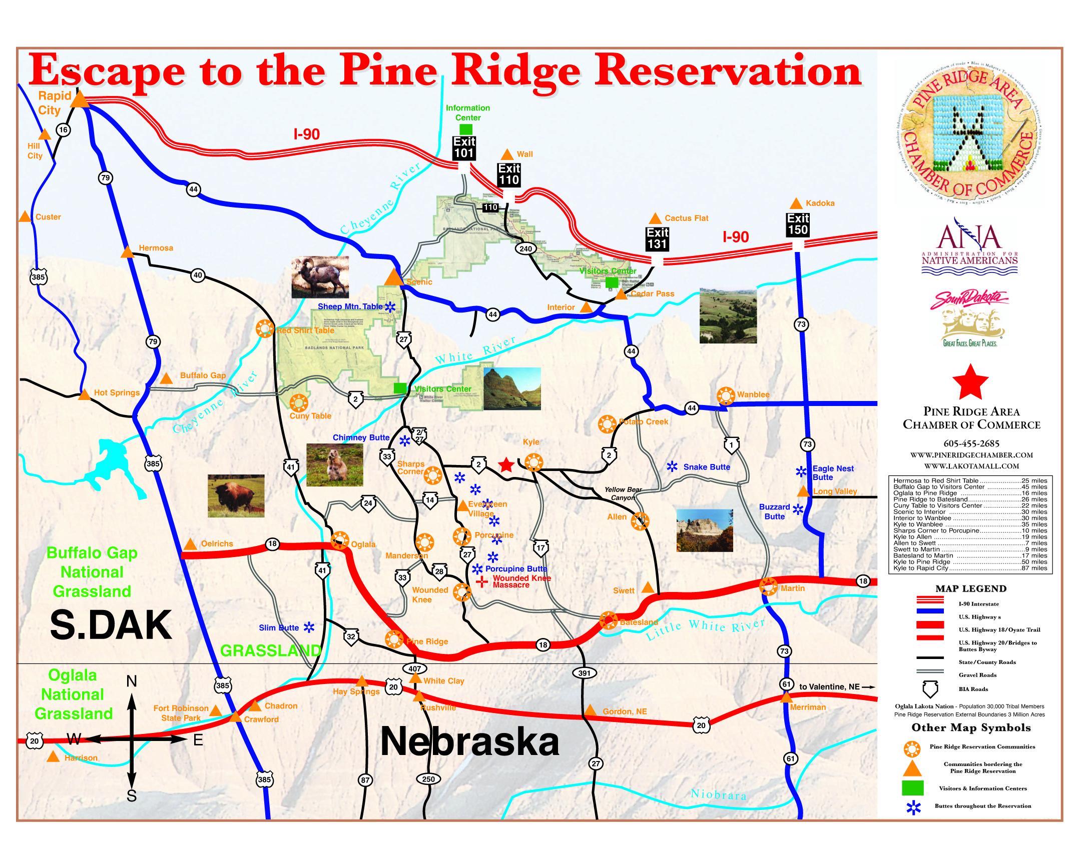 Pine Ridge Info - Us indian reservation map