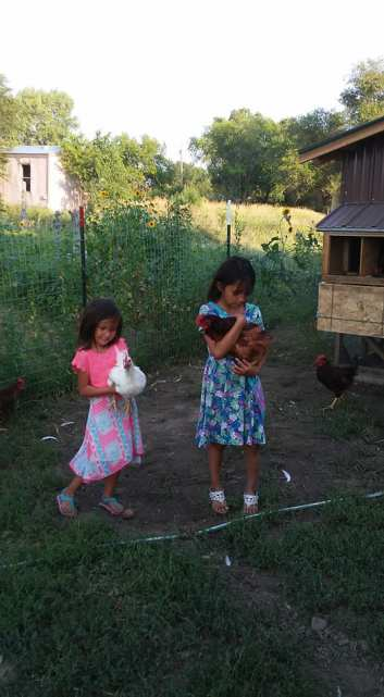 Kids with chickens in Wanblee